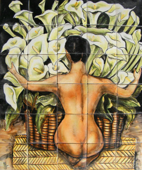 Nude with Calla Lilies kitchen tile mural