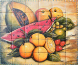tile mural oranges, watermelon and pawpaw