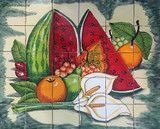 mexican tile mural calla lilies and watermelon