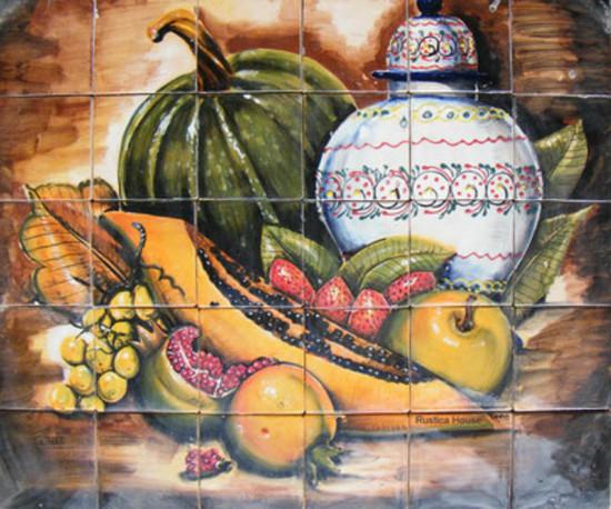 tile mural pumpkin, pawpaw and strawberries