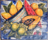 watermelon and pears patio tile mural