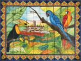 tile mural toucan and parrots