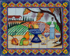 tile mural fruit bowl and wine