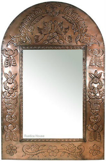 decorative punched tin mirror