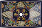 rectangular folk art talavera vessel sink