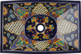 rectangular folk art talavera vessel sink