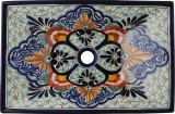 rectangular old European talavera vessel sink