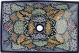 rectangular Mexican talavera vessel sink