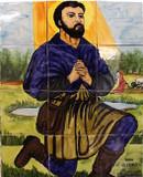 san Isidro Labrador patio tile mural