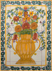 yellow vase patio tile mural