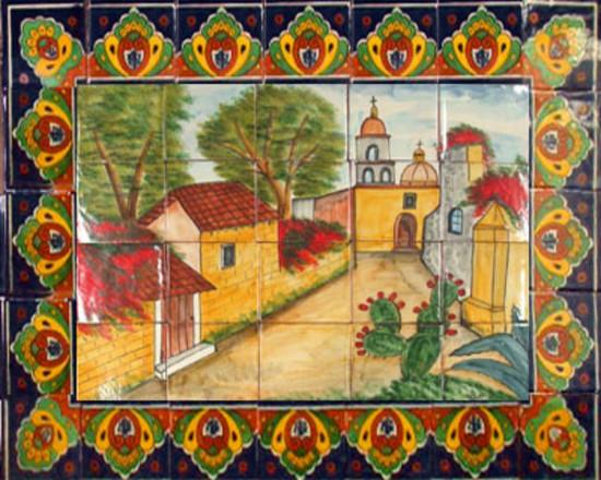 tile mural magic town