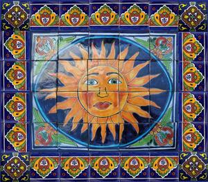 tile mural bright sun