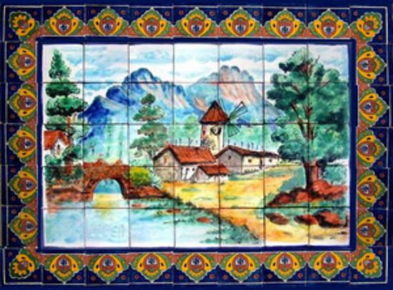 western bathroom wall tile mural