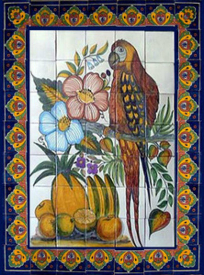 tile mural parrot and fruit