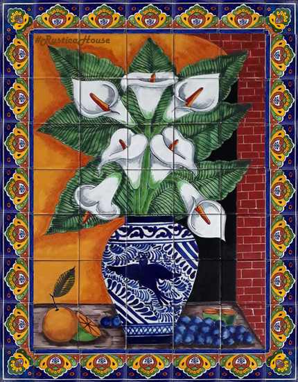 tile mural calla lilies and grapes