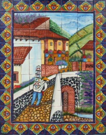 tile mural bird seller