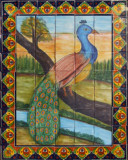tile mural beautiful peacock