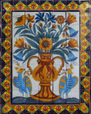tile mural yellow vase and birds