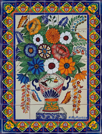 tile mural flowers beautiful and butterflies