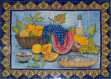 tile mural fruits and wine bottle