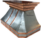 zinc range hood with copper straps