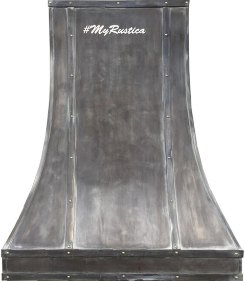 hammered zinc range hood