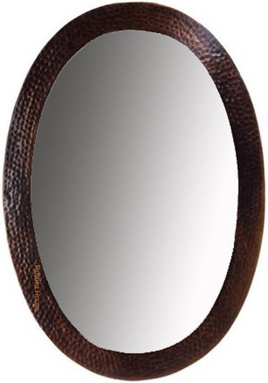 designer oval copper mirror hacienda style