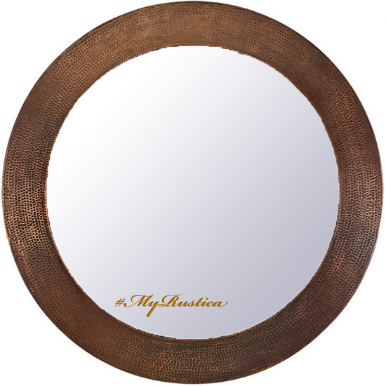 hand hammered round copper mirror