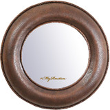 handcrafted round copper mirror