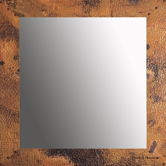 hammered square copper mirror