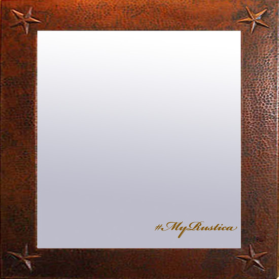 hand hammered square copper mirror