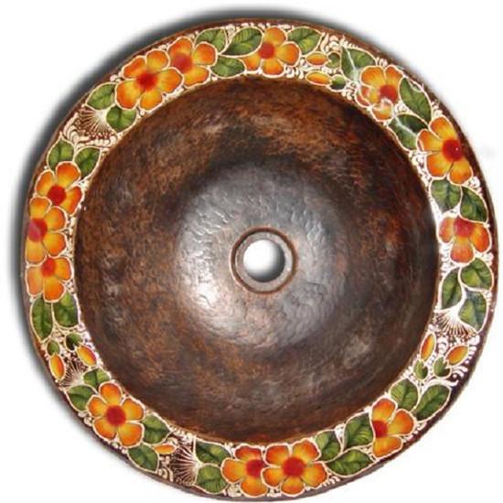 rustic round copper bathroom sink