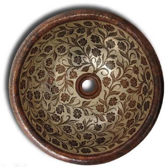 traditional round copper bathroom sink
