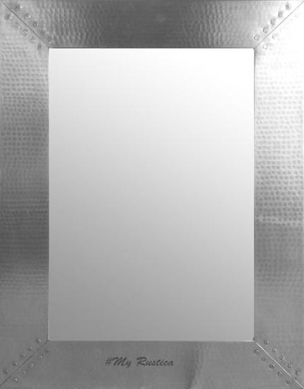 hammered zinc mirror