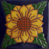 mexican relief tile green