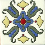 colonial hacienda relief tile blue
