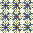 colonial hacienda relief stair riser blue tile