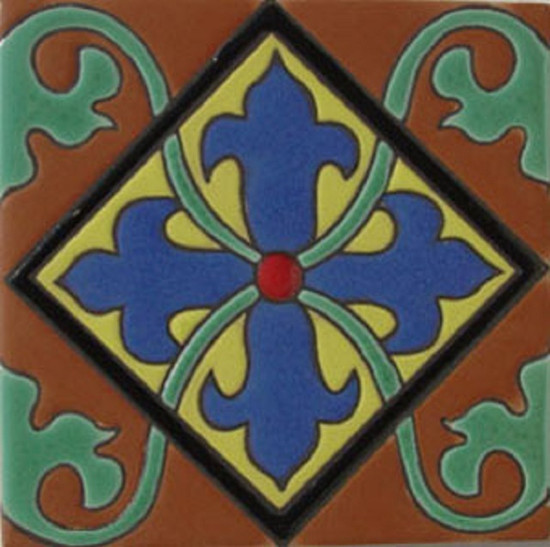 mexican relief tile blue