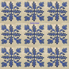 classic colonial relief stair riser blue tile