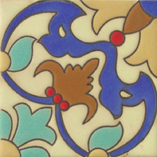 spanish relief tile blue