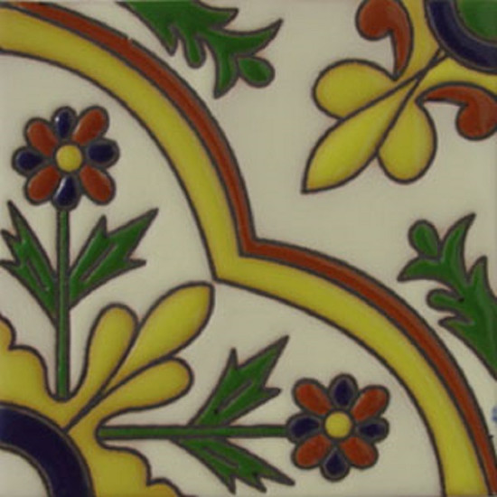 traditional relief tile cobalt