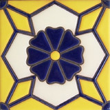 french relief tile cobalt