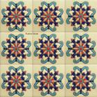 modern relief stair riser blue tile