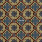 colonial hacienda relief stair riser blue tile