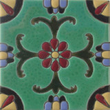 italian relief tile red