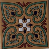 french relief tile green