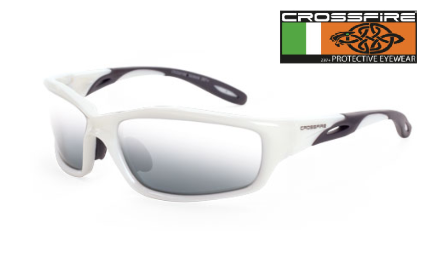 ee5ecdd72 Crossfire 2243 Safety Glasses with Silver Lens and Pearl White Frame.  Price: $8.25. Image 1