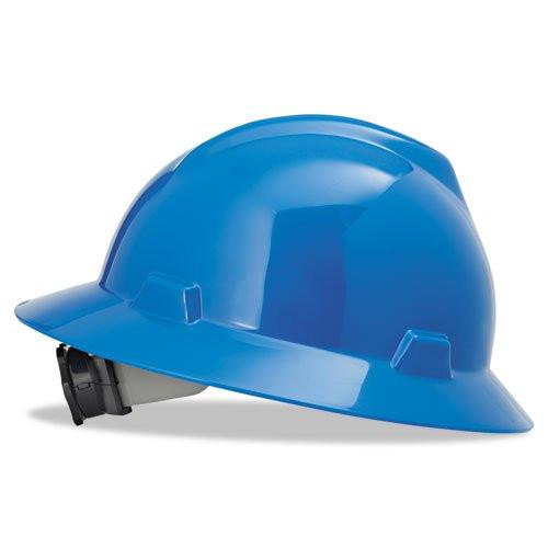 MSA 475368 V-Gard Blue Full Brim Hard Hat with Fas-Trac Suspension