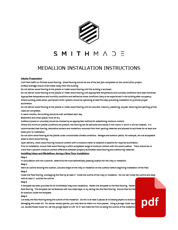 Medallion Installation Instructions
