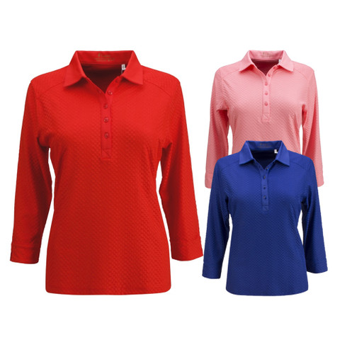 Nancy Lopez Golf Grace 3/4 Sleeve Golf Polo 2019 Women